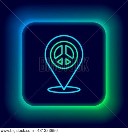 Glowing Neon Line Location Peace Icon Isolated On Black Background. Hippie Symbol Of Peace. Colorful