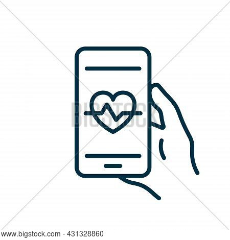 Mobile Phone App For Control Heartbeat Line Icon. Training And Control Heart Beat On Smartphone Pict