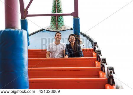 Couple Dating Amusement Park Ride Playful Fun Excitement