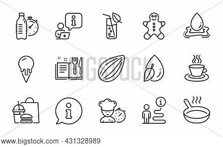 Food And Drink Icons Set. Included Icon As Fitness Water, Chef, Water Drop Signs. Recipe Book, Ginge