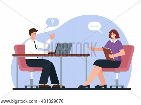 Job Interview. Recrutment Or Employment Service. Hr Manager With Laptop And Young Woman Job Seeker.