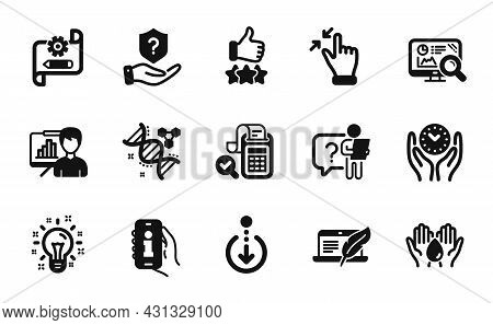 Vector Set Of Protection Shield, Info App And Touchscreen Gesture Icons Simple Set. Chemistry Dna, C
