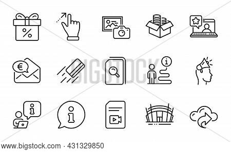 Business Icons Set. Included Icon As Photo Camera, Euro Money, Arena Stadium Signs. Search Files, To