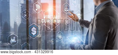 Currency Symbols On A Virtual Screen. Virtual Currency Exchange Investment Concept 2021