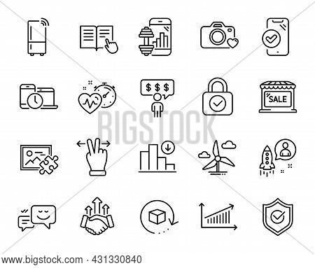 Vector Set Of Cardio Training, Decreasing Graph And Startup Line Icons Set. Fitness App, Windmill Tu