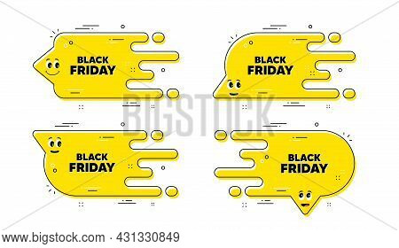 Black Friday Sale. Cartoon Face Transition Chat Bubble. Special Offer Price Sign. Advertising Discou