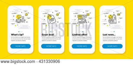 Vector Set Of Court Judge, Shuttle Bus And Sale Tag Line Icons Set. Ui Phone App Screens With Line I