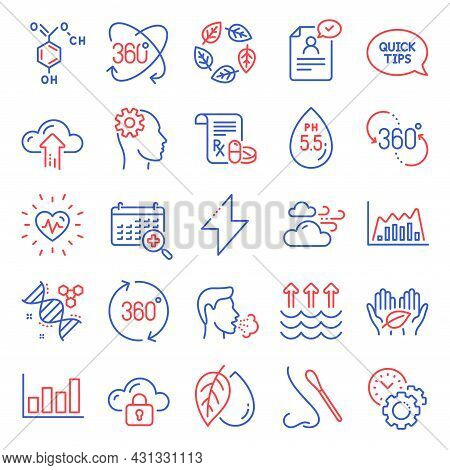 Science Icons Set. Included Icon As Chemistry Dna, Heartbeat, Organic Tested Signs. Evaporation, Ene