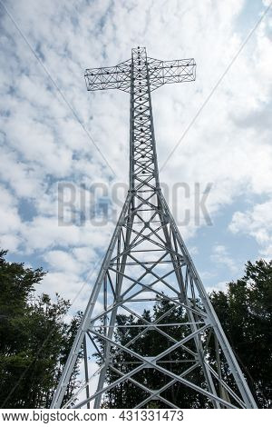 A Cross On The Top Of Hrobacza Laka In The Maly Beskids In Poland, 35 Meters High