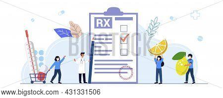 Rx Medical Prescription Drug Vector Illustration Concept Medicine Prescription With Medicines Prescr