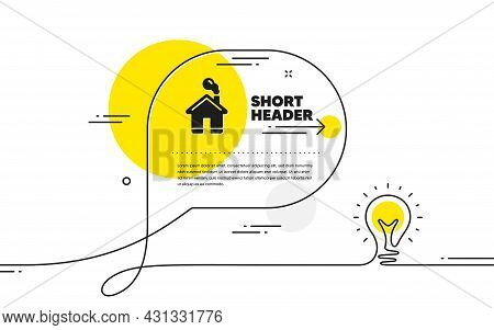 Home Icon. Continuous Line Idea Chat Bubble Banner. House Sign. Building Or Homepage Symbol. Home Ic