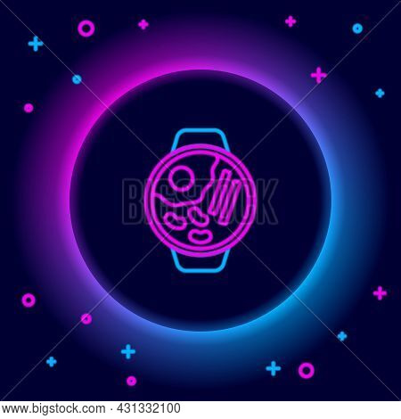 Glowing Neon Line Ramen Soup Bowl With Noodles Icon Isolated On Black Background. Bowl Of Traditiona
