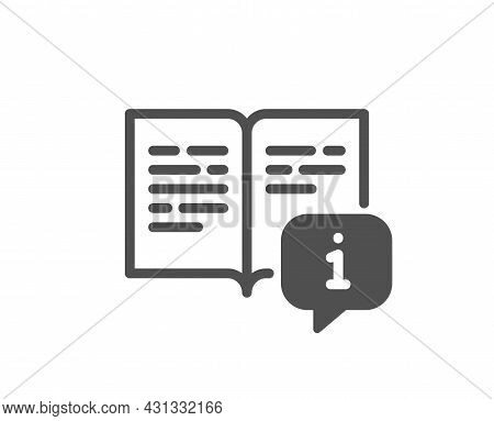 Instruction Icon. User Manual Sign. Information Book Symbol. Classic Flat Style. Quality Design Elem