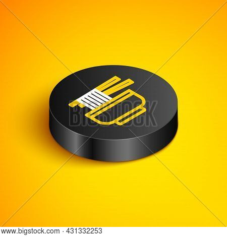 Isometric Line Ramen Soup Bowl With Noodles Icon Isolated On Yellow Background. Bowl Of Traditional