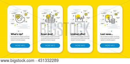 Vector Set Of Budget, Stock Analysis And 24 Hours Line Icons Set. Ui Phone App Screens With Line Ico