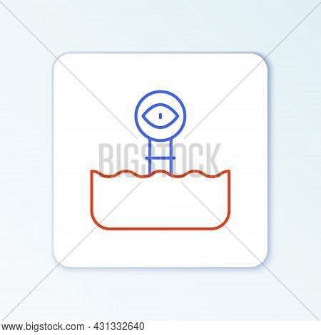 Line Periscope In The Waves Above The Water Icon Isolated On White Background. Colorful Outline Conc