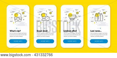 Vector Set Of Dry Cappuccino, Chef And Ice Cream Line Icons Set. Ui Phone App Screens With Line Icon