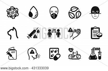 Vector Set Of Leaf Dew, Capsule Pill And Dont Touch Icons Simple Set. Medical Mask, Cough And Social