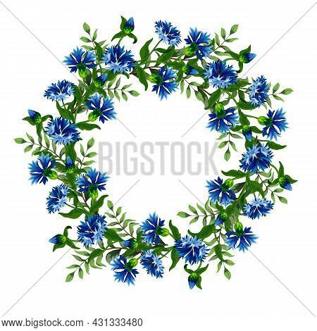 Round Frame Made Of Cornflowers.bright Cornflowers In The Decor Frame On A White Background In Color