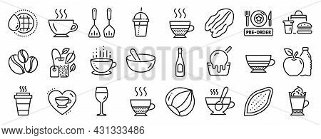 Set Of Food And Drink Icons, Such As Fast Food, Pre-order Food, Cafe Creme Icons. Pecan Nut, Coffee,