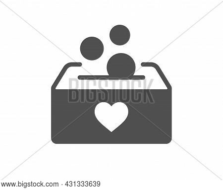 Donate Money Box Icon. Fundraising Box Sign. Donation Coin Symbol. Classic Flat Style. Quality Desig