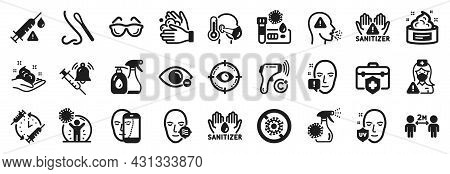 Set Of Medical Icons, Such As Sick Man, Myopia, Cleaning Liquids Icons. Wash Hands, Skin Cream, Soci