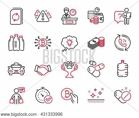 Vector Set Of Business Icons Related To Savings, Handshake And Update Document Icons. Fast Verificat