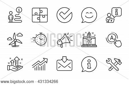 Technology Icons Set. Included Icon As Demand Curve, Ab Testing, Timer Signs. Megaphone, Incoming Ma
