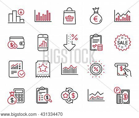 Vector Set Of Finance Icons Related To Atm Service, Infochart And Checked Calculation Icons. Loyalty