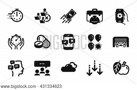 Vector Set Of Messages, Construction Toolbox And Parking Garage Icons Simple Set. Apple, Meeting And