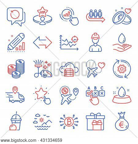 Business Icons Set. Included Icon As Delivery Boxes, Sea Mountains, Correct Checkbox Signs. Edit Sta