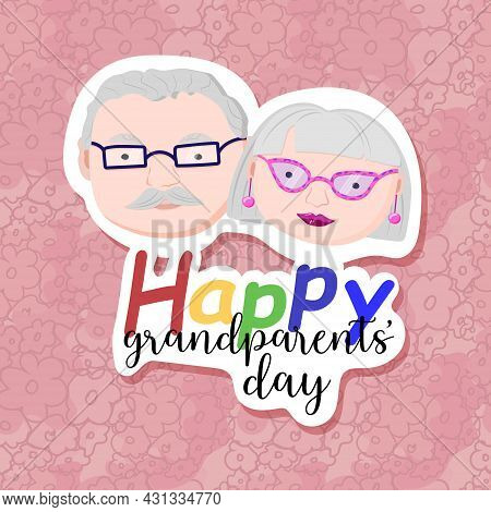 Abstract Background To The Day Of Grandparents. Sticker Effect. Happy Grandparents Day Greeting Card