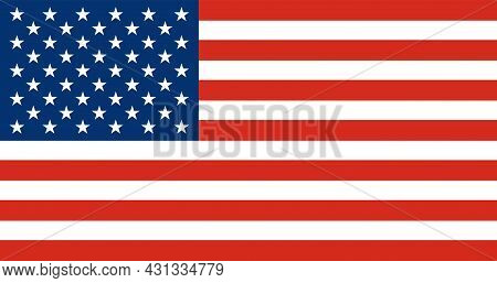 National Flag Of America. Usa Banner Close Up. Vector Illustration. Eps10