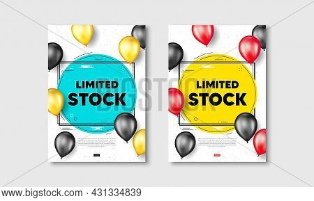 Limited Stock Sale. Flyer Posters With Realistic Balloons Cover. Special Offer Price Sign. Advertisi