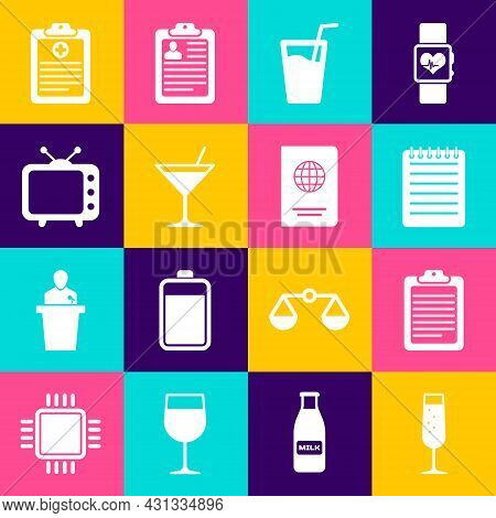 Set Glass Of Champagne, Clipboard With Document, Notebook, Water, Martini Glass And Television Tv Ic