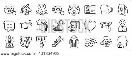 Set Of People Icons, Such As Smile Face, Heart, Employee Benefits Icons. Electronic Thermometer, Cop