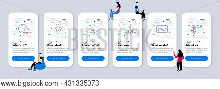 Technology Icons Set. Ui Phone App Screens With Teamwork. Included Icon As Seo Phone, Twinkle Star,