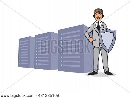 Cyber Security, Concept Vector Illustration. The Protection Of Personal Data. Server And Security Gu