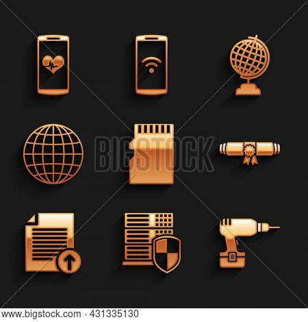 Set Micro Sd Memory Card, Server With Shield, Drill Machine, Diploma Rolled Scroll, Upload File And