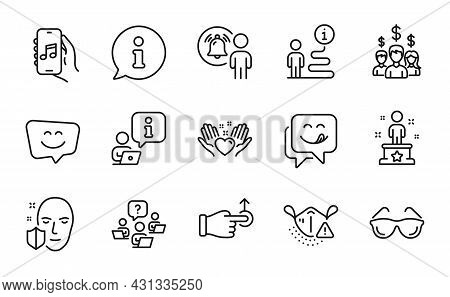 People Icons Set. Included Icon As Drag Drop, Music App, Teamwork Question Signs. Yummy Smile, Salar