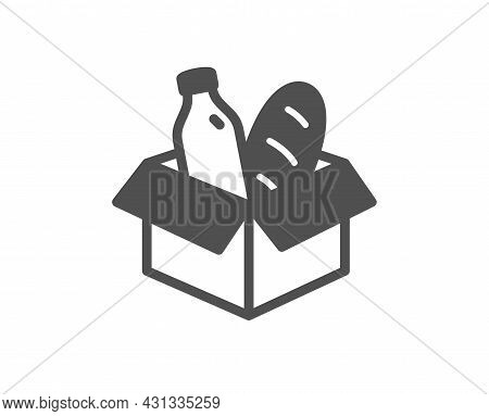 Food Donation Icon. Charity Box Sign. Charitable Organization Symbol. Classic Flat Style. Quality De