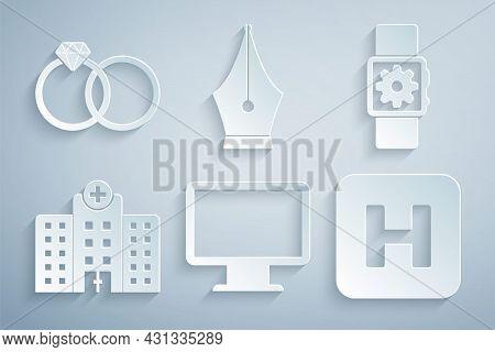 Set Computer Monitor Screen, Smartwatch Setting, Medical Hospital Building, Hospital, Fountain Pen N