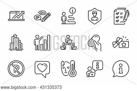 Line Icons Set. Included Icon As Sales Diagram, Graph Chart, Teamwork Signs. No Parking, Skyscraper