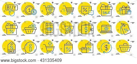Shopping Wallet Line Icons. Gift, Present And Sale Offer Signs. Shopping Cart, Delivery Gift And Tag