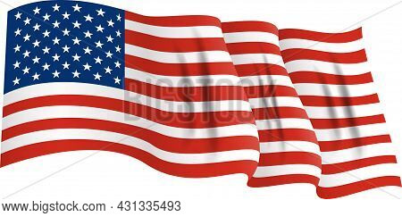 National Flag Of America. Usa Banner Waving. Vector Illustration. Eps10