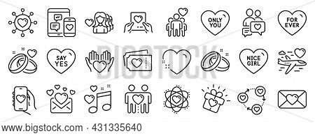 Set Of Love Icons, Such As Marriage Rings, Hold Heart, Nice Girl Icons. Love Music, Social Media, Ho