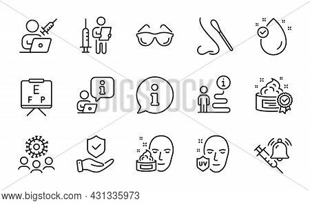 Medical Icons Set. Included Icon As Vaccination Announcement, Uv Protection, Nasal Test Signs. Cream