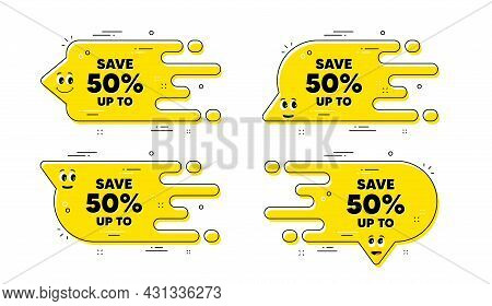 Save Up To 50 Percent. Cartoon Face Transition Chat Bubble. Discount Sale Offer Price Sign. Special