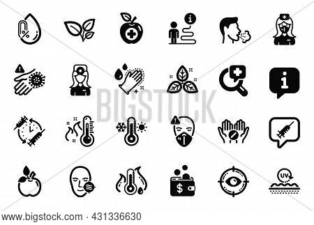 Vector Set Of Healthcare Icons Related To Vaccination Schedule, Cough And Nurse Icons. Eye Target, L