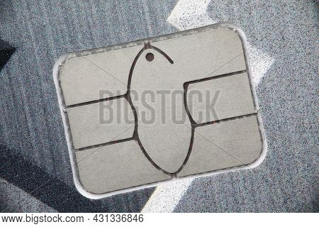 Built-in Electronic Element Of Bank Card Close-up